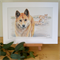 "Dingo 12""x 8"" Print Australian wildlife wall art with matt frame board"