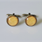 Yellow and White Chevron Glass Cabochon Cufflinks