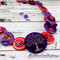 Red Hat Society - Red Purple - Tree of Life Button - Button Necklace - Earrings