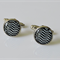 Black and White Chevron Glass Cabochon Cufflinks