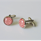 Red and White Glass Cabochon Cufflinks