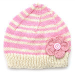 Womens / Ladies Pink Cream Stripe Knitted Wool Beanie Hat - Adults
