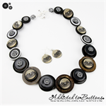 Time for Tea - Button Necklace - Button Jewellery - Earrings