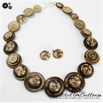 Coffee Time - Button Necklace - Button Jewellery - Earrings