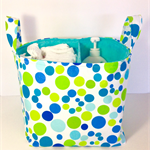 Lime aqua blue dots X large storage basket, nappy caddy, fabric nursery storage.