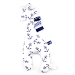Giraffe Tag Toy Rattle Anchors Navy Blue and White
