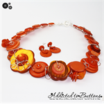 Shimmering Orange Golden pearl free-formed wired Button Necklace - Chunky