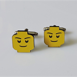 Fun Yellow Toy Head Man Cufflinks