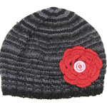Older Girls Grey Wool Beanie with Big Red Flower.  Age: 11 12 13 Teen - Adult