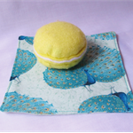 Peacock Fabric Napkin Set Cocktail Cotton Turquoise Green Teal Blue Gold