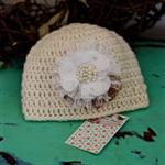 100% Cream Wool Childs Flower Beanie Hat