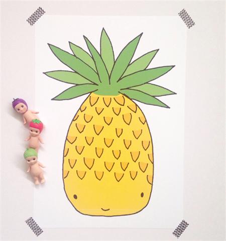 A3 Pineapple Illustration Print.