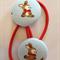 Bunny fabric button hairties