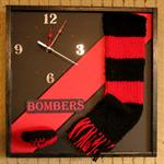 AFL Unique Wall Clock Woollen Scarf Sport Clock Sport Wall Art Bombers Essendon