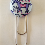 38mm Horse Button Fabric Clip Bookmark