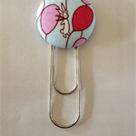Rabbit with Balloon Button Paperclip Bookmark