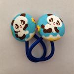 23mm Blue Panda fabric button hairties