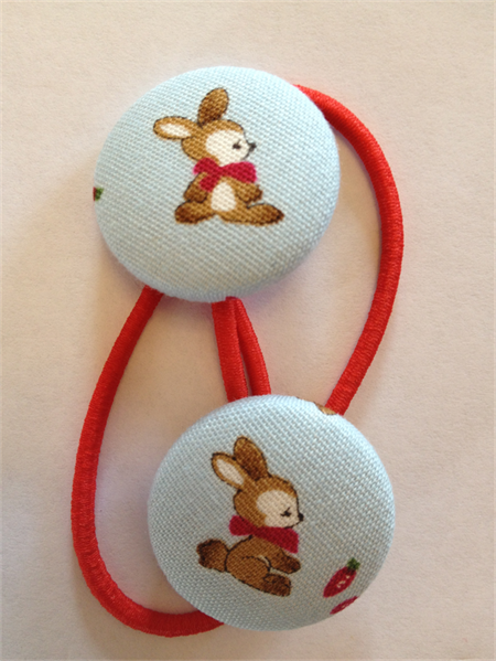 Bunny fabric button hairties