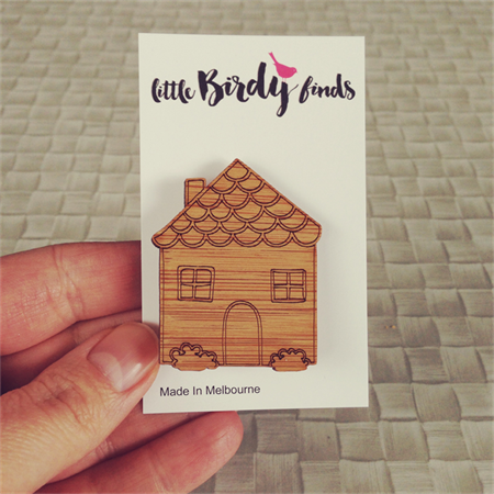 Wooden House Brooch