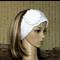 Knitted Headband, Womens Cream Chunky Knit Ear Warmer, Crochet Flower Head Wrap