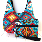Hobo Handbag Purse and Wristlet  SET in Colourful Aztec Style Fabric