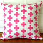 Pink Swiss Cross Cushion Cover