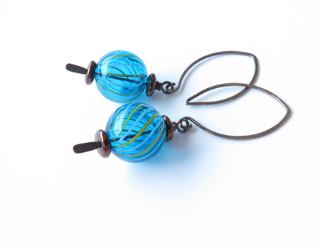 Globe Blue Glass Earrings by Sasha+Max Studio