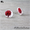 Button Tree - Buttons - Button Stud Earrings - RED