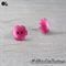 Pink Daisy Flower - Pearl Effect - Button - Stud Earrings