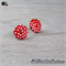 Red with White Spots Button - Stud Earrings