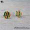 Rainbow Stripes Button - Stud Earrings