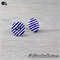 Blue and White Stripes Buttons - Stud Earrings