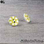 Bold Yellow with White Spots Button - Stud Earrings
