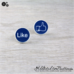 Facebook Like - Thumbs Up Laser Cut - Button - Stud Earrings