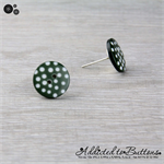 Dark Green with White Spots Button - Stud Earrings