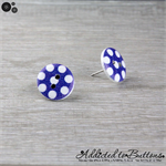 Bold Blue with White Spots Button - Stud Earrings
