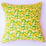 Lemon and chevron print cushion
