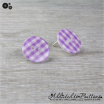 Purple Check Gingham - Country Style - Button - Stud Earrings