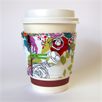 Coffee Cup Cuff - Line drawing Roses on white