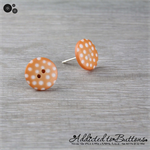Orange with White Spots Button - Stud Earrings