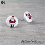Christmas - Santa Claus - Red White - Stud Earrings