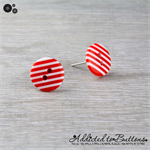 Red and White Stripes -  Button - Stud Earrings