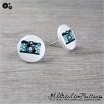 CAMERA  - Buttons - Button Stud Earrings - Teal White Black