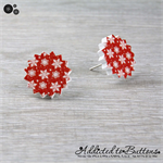 Christmas - Snow Snowflakes Star - Red White - Stud Earrings