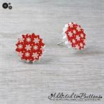 Christmas - Snow Snowflakes Star - Red White - Stud Earrings