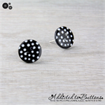 Black and White Spot Buttons - Stud Earrings