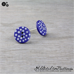 Blue with White Spots Button - Stud Earrings