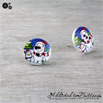 Christmas - Frosty Polar Bears - Green - Blue - Red - White - Stud Earrings