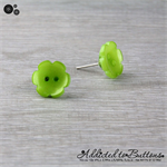 Green Daisy Flower - Pearl Effect - Button - Stud Earrings
