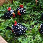 fairy garden black speckled hens and basket of eggs